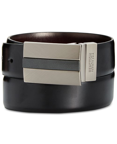 Kenneth Cole Reaction Men's Reversible Mixed-Finish Plaque Belt