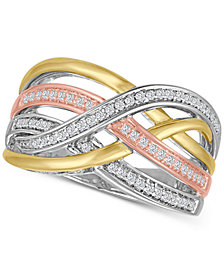 Diamond Weave Tri-Color Statement Ring (1/4 ct. t.w.) in Sterling Silver and 14k Gold-Plate