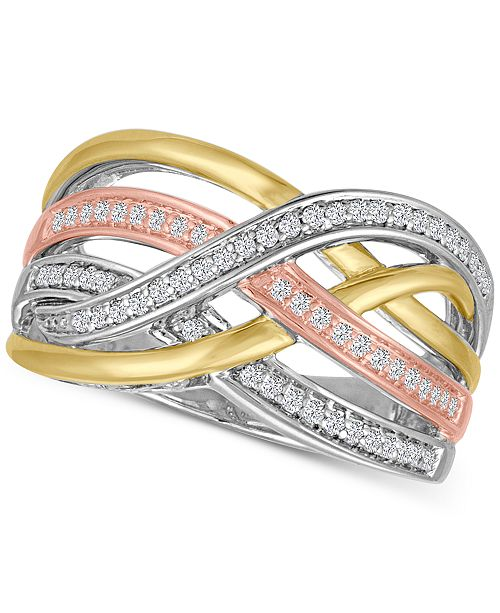 Macy's Diamond Weave Tri-Color Statement Ring (1/4 ct. t.w.) in Sterling Silver and 14k Gold-Plate