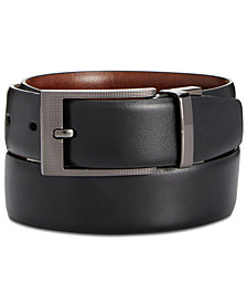Perry Ellis Portfolio Men's Leather Zeus Etched Reversible Buckle Belt