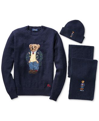 Polo Ralph Lauren Mens Polo Bear Wool Sweater Scarf And Cuffed Hat