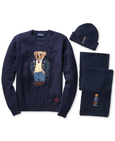 Polo Ralph Lauren Mens Polo Bear Wool Sweater, Scarf and Cuffed Hat