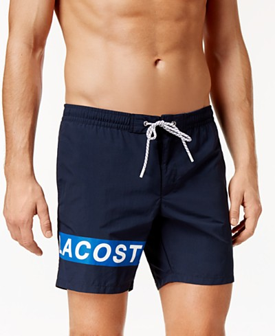 Lacoste Men's Logo-Graphic Swim Trunks