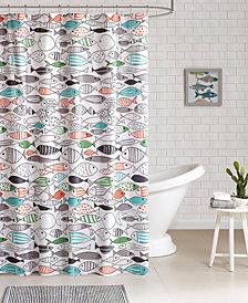 HipStyle Sardinia Printed Cotton Shower Curtain