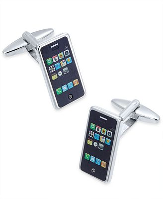 Sutton by Rhona Sutton Men's Stainless Steel Smart Phone Cuff Links