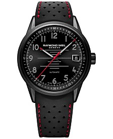RAYMOND WEIL Men's Swiss Automatic Freelancer Black Rubber Strap Watch 42mm 2754-BKR-05200