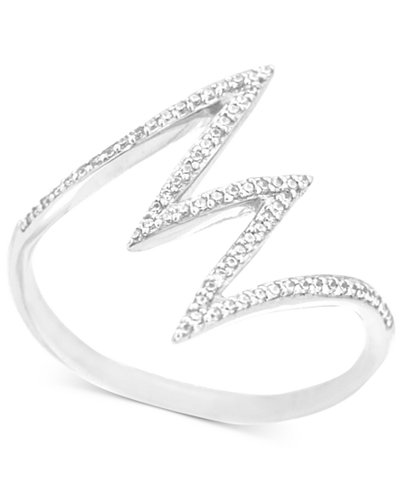 Wrapped™ Diamond Lightning Bolt Ring (1/6 ct. t.w.) in 10k White Gold, Created for Macy's