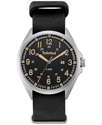 Timberland Men's Raynham Black Leather Strap Watch 44x48mm TBLGS14829JS02AAS