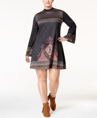 American Rag Trendy Plus Size Mock-Neck Peasant Dress, Only at Macy's