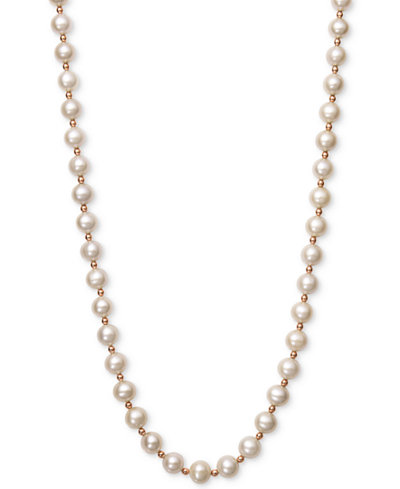 Belle de Mer White Cultured Freshwater Pearl (7-1/2mm) and Gold Bead Collar Necklace in 14k Rose Gold