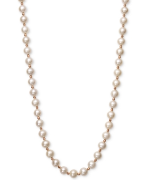 White Cultured Freshwater Pearl (7-1/2mm) and Gold Bead Collar Necklace in 14k Rose Gold