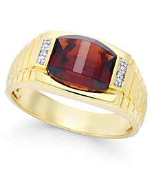 Men's Garnet (4-1/3 ct. t.w.) and Diamond Accent Ring in 10k Gold