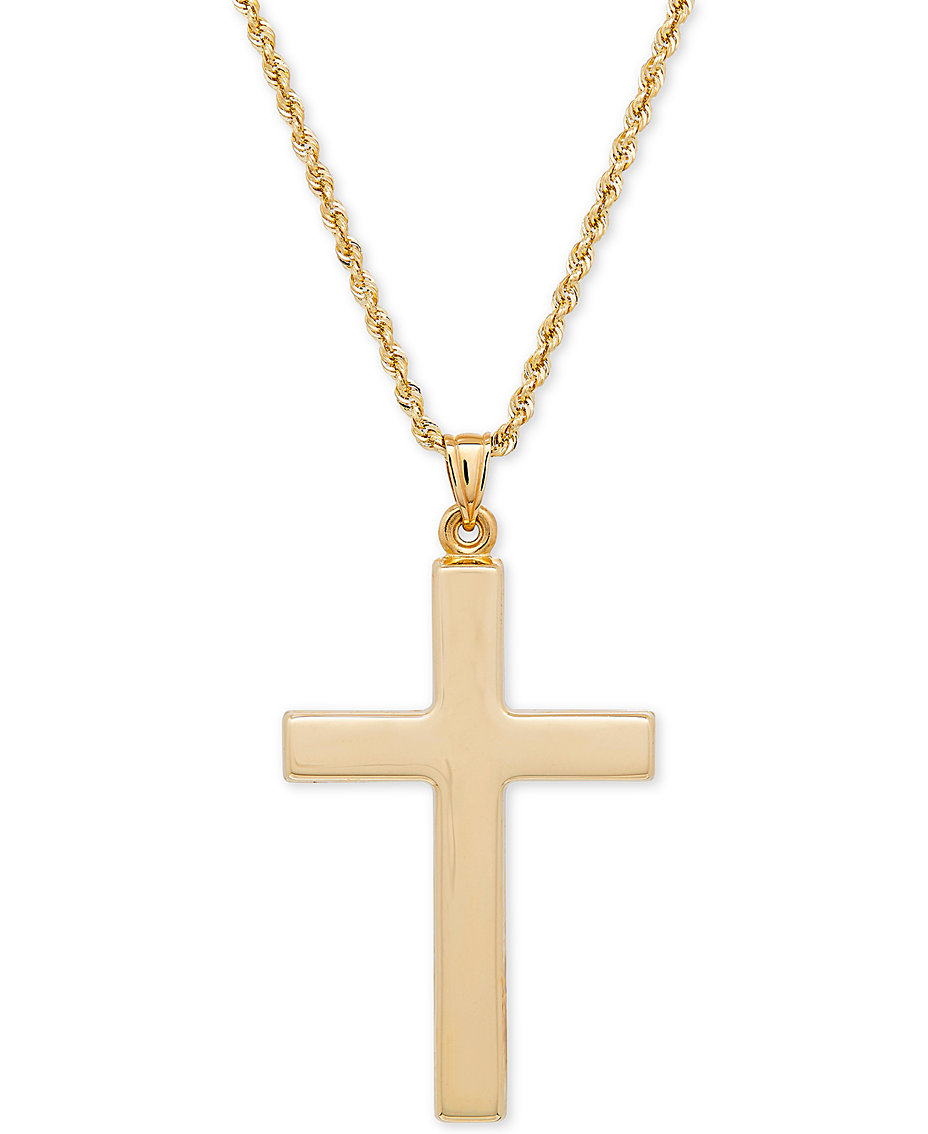 Cross necklaces for women shop cross necklaces for women macys polished cross pendant necklace in 14k gold aloadofball Choice Image