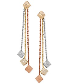 Italian Gold Textured Disc Linear Drop Earrings in 14k Gold, White Gold & Rose Gold