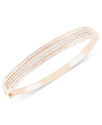 Diamond Bangle Bracelet 2 ct t w in 10k Gold Bracelets