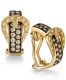 Le Vian Chocolatier® Diamond Belt Buckle Hoop Earrings (1 ct. t.w.) in 14k Gold