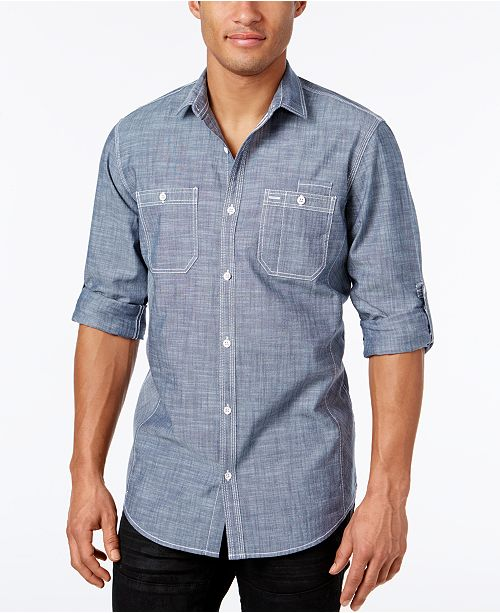 INC International Concepts INC Men's Chambray Dual-Pocket Shirt, Created for Macy's