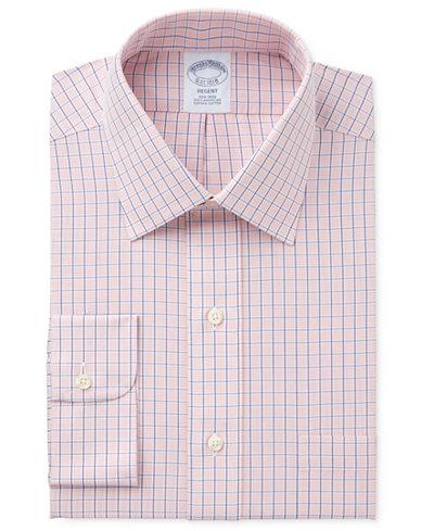Brooks Brothers Men's Regent Classic/Regular Fit Non-Iron Orange Tattersall Dress Shirt
