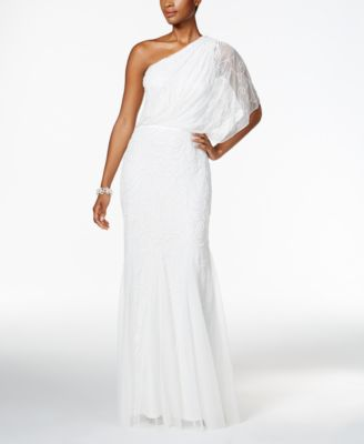 Adrianna Papell Beaded Tulle One-Shoulder Gown