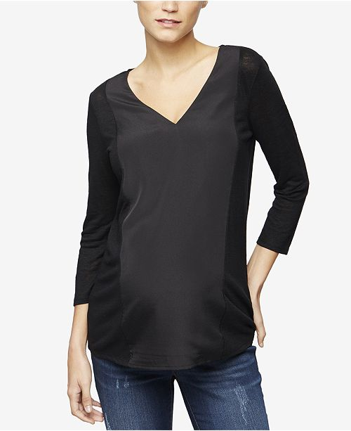 de77592ef6372 Maternity V-Neck Linen Top. Be the first to Write a Review. main image;  main image ...