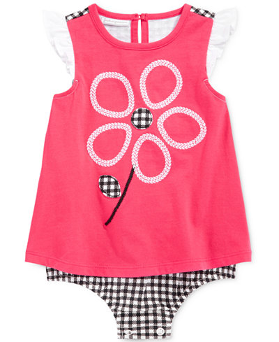 First Impressions Gingham Flower Skirted Romper, Baby Girls (0-24 months), Only at Macy's