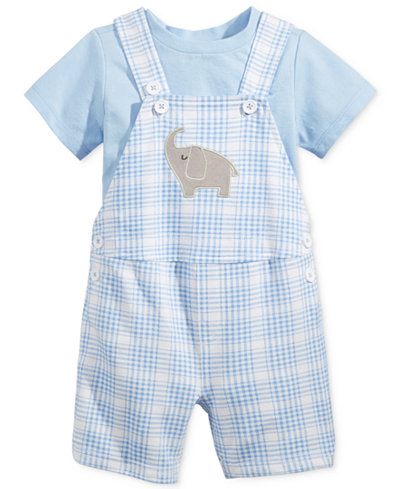 First Impressions 2-Pc. T-Shirt & Plaid Elephant Shortall Set, Baby Boys (0-24 months), Only at Macy's