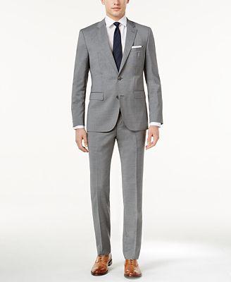 HUGO Men's Slim-Fit Medium Gray Pinstripe Suit - Suits & Suit ...