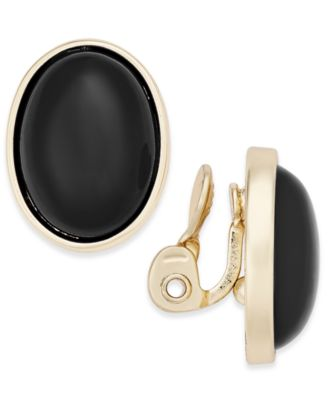 Image of Charter Club Gold-Tone Colored Stone Clip-On Stud Earrings, Only at Macy's