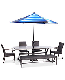 "CLOSEOUT! Savannah Outdoor 6-Pc. Dining Set (84"" x 42"" Rectangle Dining Table, 2 Armless Dining Chairs, 2 Dining Chairs & 1 Bench), Created for Macy's"