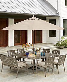 """Wayland Outdoor Aluminum 8-Pc. Dining Set (64"""" Square Dining Table, 6 Dining Chairs & 1 Bench) with Sunbrella® Cushions, Created for Macy's"""