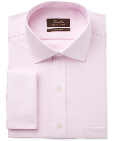 Tasso Elba Men's Classic/Regular Fit Non-Iron French Cuff Pink ...