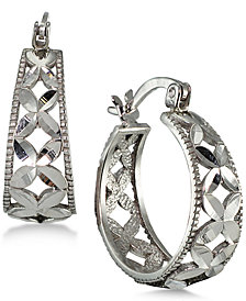 Giani Bernini Floral Hoop Earrings, Created for Macy's