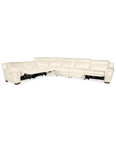 CLOSEOUT! Julius 6-pc Leather Sectional Sofa with 3 Power Recliners, Created for Macy's