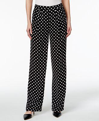 MICHAEL Michael Kors Polka-Dot Wide-Leg Pants - Pants - Women - Macy's