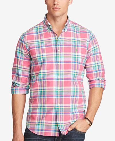 Polo ralph lauren men 39 s big tall plaid oxford shirt for Mens tall button down shirts