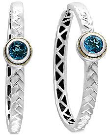 EFFY® Blue Topaz Patterned Hoop Earrings (2-1/10 ct. t.w.) in Sterling Silver and 18k Gold