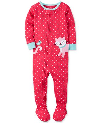 Carter's 1-Pc. Dot-Print Cat Footed Pajamas, Toddler Girls (2T-4T ...
