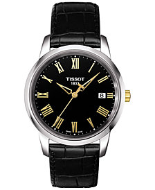 Tissot Men's Swiss Classic Dream Black Leather Strap Watch 38mm T0334102605301