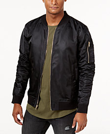 Jaywalker Men's Ruched Nylon Olive Bomber Jacket, Created for Macy's