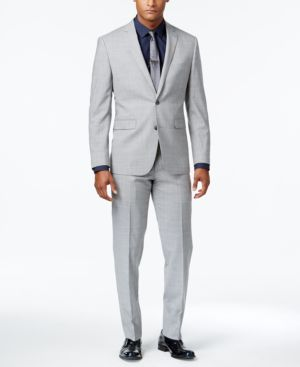 Vince Camuto Men's Slim-Fit Tonal Plaid Light Gray Suit thumbnail