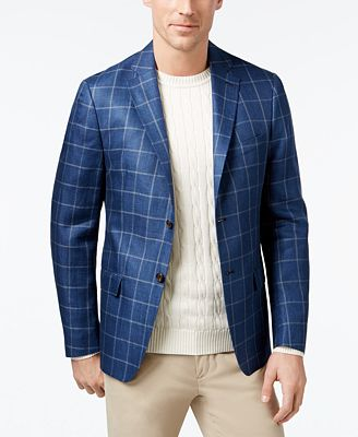 Lauren Ralph Lauren Men's Classic-Fit Navy Windowpane Sport Coat ...