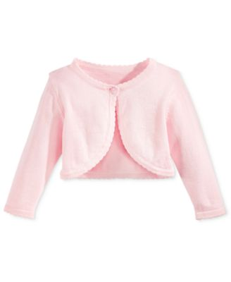 Image of Bonnie Baby Cotton Ruffled-Trim Flyaway Cardigan, Baby Girls (0-24 months)