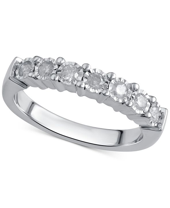 Macy's Diamond Band (1/4 ct. t.w.) in Sterling Silver or 14k Gold over Sterling Silver