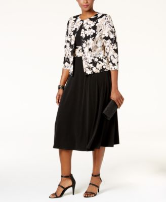 Jessica Howard Plus Size Empire-Waist Dress & Printed Jacket