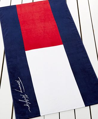 Tommy Hilfiger Home Cotton Logo Beach Towel Fashion