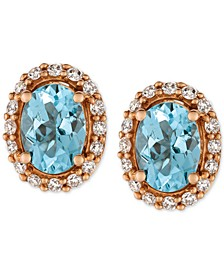 Sea Blue Aquamarine® (1-1/6 ct. t.w.) and Diamond (1/4 ct. t.w.) Stud Earrings in 14k Rose Gold