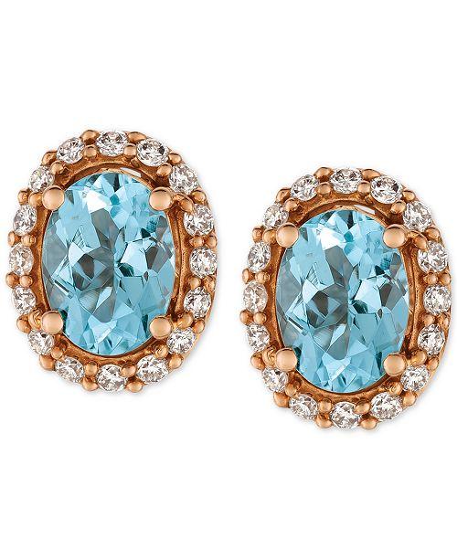 Le Vian Sea Blue Aquamarine® (1-1/6 ct. t.w.) and Diamond (1/4 ct. t.w.) Stud Earrings in 14k Rose Gold