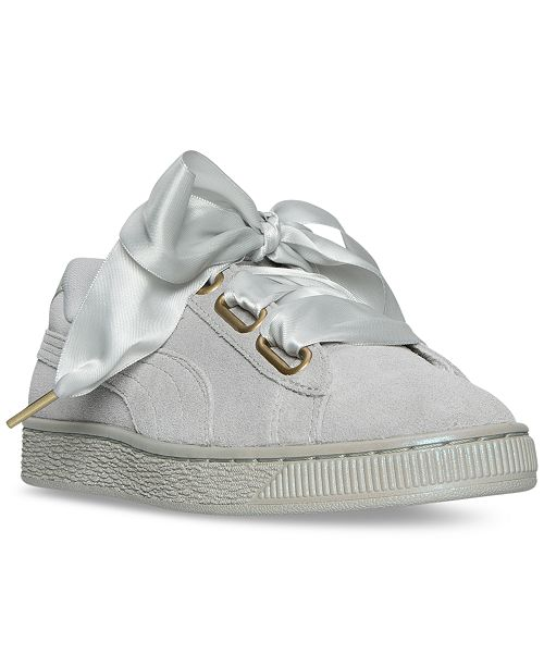 Suede Satin Sneakers From Finish Casual Puma Line Heart Women's EI92WDH