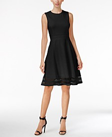 Illusion-Trim Fit & Flare Dress
