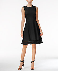 Calvin Klein Petite Illusion-Trim Fit & Flare Dress